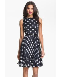 Adrianna Papell Burnout Polka Dot Fit & Flare Dress in Navy (Blue ...