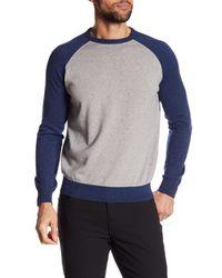 Tocco Toscano - Gray Long Raglan Sleeve Colorblock Crew Neck Sweatshirt for Men - Lyst