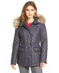 Laundry by Shelli Segal - Blue Waxed Twill Quilted Jacket - Lyst