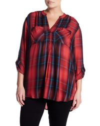 Joe Fresh - Red Plaid Roll Up Sleeve Blouse (plus Size) - Lyst
