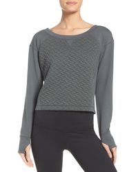 Zella - Gray Dance Off Crop Pullover - Lyst