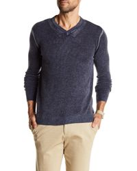 Autumn Cashmere Blue Inked Elbow Patch Cashmere Sweater for men