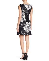 Vince Camuto Black Fit & Flare Cap Sleeve Dress