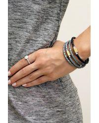 Liza Schwartz | Gray Original Triple Wrap Silver Leather Bracelet | Lyst