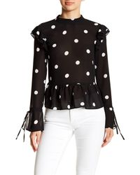 Romeo and Juliet Couture Black Polka Dot Tie Neck Top