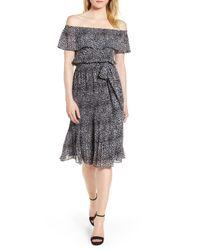 MICHAEL Michael Kors Black Off The Shoulder Chiffon Midi Dress