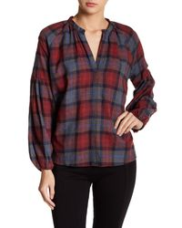 Romeo and Juliet Couture Red V-neck Plaid Blouse