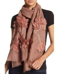 Saachi Multicolor Floral Applique Wool Wrap