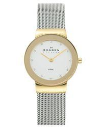 Skagen - Metallic 'freja' Mirror Bezel Mesh Strap Watch - Lyst