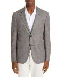 Ermenegildo Zegna Gray Milano Classic Fit Plaid Wool Blend Sport Coat for men