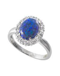 CZ by Kenneth Jay Lane - Simulated Blue Opal & Cz Halo Ring - Lyst