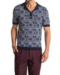 Reiss Blue Prestwick Geo Printed Knit Shirt for men