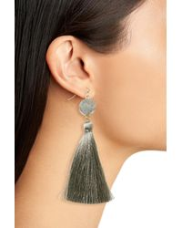 Panacea - Multicolor Sunstone Drusy Tassel Earrings - Lyst