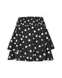 TOPSHOP - Black Tiered Polka Dot Skirt - Lyst