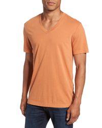 James Perse - Orange Short Sleeve V-neck Tee for Men - Lyst