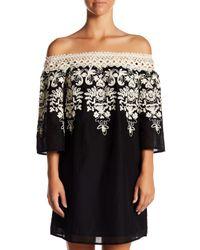 Jealous Tomato Black Off-the-shoulder Embroidered Dress