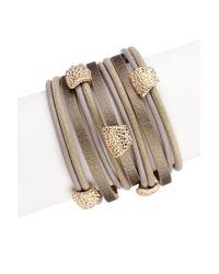 Saachi | Gold Metallic Allure Leather Bracelet | Lyst