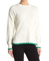 Reiss Green Ellena Cotton Tipped Crewneck Sweater