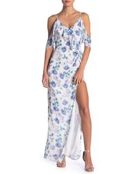 Yumi Kim Blue My Everything Ruffled Cold Shoulder Maxi Dress