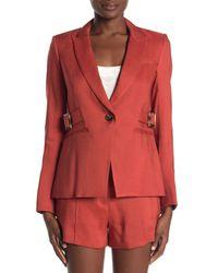 Veronica Beard Red Baltazar Linen Blend Dickey Jacket