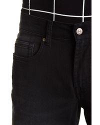 7 For All Mankind Black Slimmy Straight Leg Jeans for men
