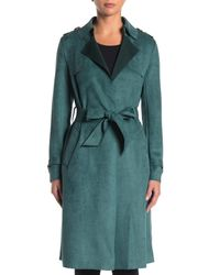 Love Token Green Faux Suede Trench Coat