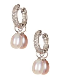 Splendid - 7.5-8mm White & Pink Cultured Freshwater Pearl Interchangeable Pave Cz Huggie Earrings - Lyst
