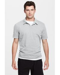 James Perse - Gray Slim Fit Sueded Jersey Polo for Men - Lyst