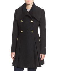 Guess - Black Envelope Collar Double Breasted Coat - Lyst
