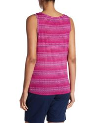 Tommy Bahama Multicolor Dotted Lines Tie Front Linen Tank