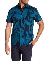 Perry Ellis - Blue Twigs Short Sleeve Regular Fit Shirt for Men - Lyst