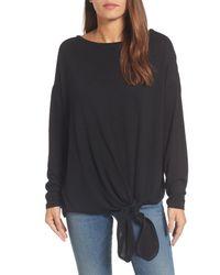 Caslon - Black Caslon Tie Front Sweatshirt - Lyst