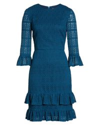 Maggy London | Blue Ruffle Lace Sheath Dress | Lyst