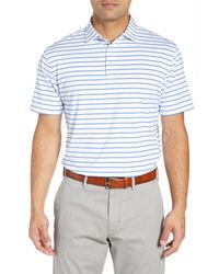 Peter Millar White Market Stripe Regular Fit Stretch Polo for men