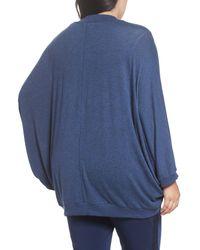 Sejour - Blue Hacci Cocoon Cardigan (plus Size) - Lyst