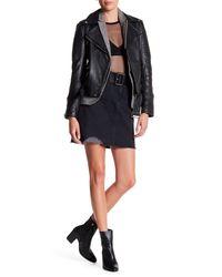 Levi's Black Frayed Hem Denim Skirt