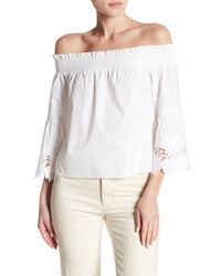 Romeo and Juliet Couture White Off Shoulder Ruched Crochet Top