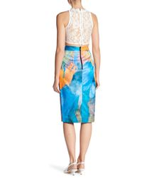 MILLY Blue Watercolor Print Midi Skirt