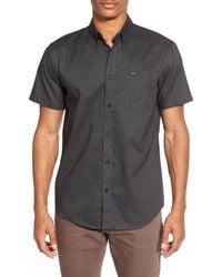 RVCA Black 'that'll Do' Slim Fit Short Sleeve Oxford Shirt for men