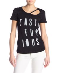 Affliction Black Letty Short Sleeve Cut Out Tee