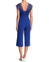 Spense Blue Crochet Bodice Crepe Jumpsuit