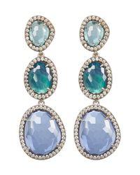 Nadri - Isola Multi Blue Drop Post Earrings - Lyst