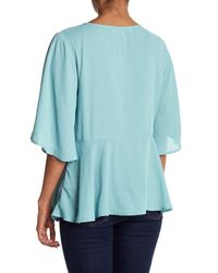 Cupcakes And Cashmere - Blue Josselyn Lace Up Blouse - Lyst