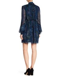 Laundry by Shelli Segal Blue Long Sleeve Printed Ruffle Dress