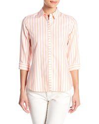 Foxcroft Pink Ava Striped Shirt