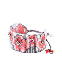 Mishky - Pink Aster Floral Beaded Cuff Bracelet - Lyst