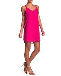 Naked Zebra - Pink Ruffle Accent Button Detail Dress - Lyst