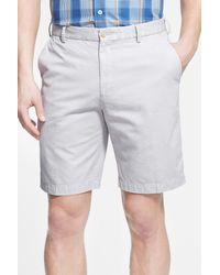 Peter Millar - Gray 'winston' Washed Twill Flat Front Shorts for Men - Lyst