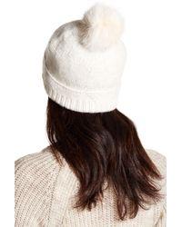 Helen Kaminski Brown Sofie Genuine Fox Fur Pompom Cashmere Beanie
