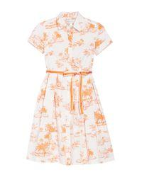 Donna Morgan White Tropical Print Stretch Poplin Fit & Flare Shirt Dress